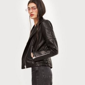 Zara faux leather black moto biker jacket bomber
